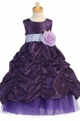 Tiered Tulle&Taffeta Flower Girl Dress