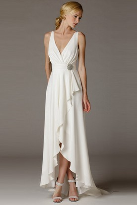 High-Low V-Neck Ruched Draped Chiffon Wedding Dress With Brush Train And V Back