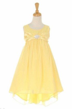 Knee-Length Empire Bowed Broach Chiffon&Satin Flower Girl Dress