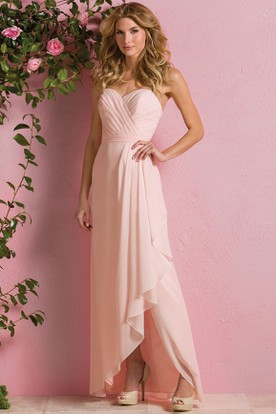 Sweetheart A-Line High-Low Bridesmaid Dress With Ruffles And Crisscross Style