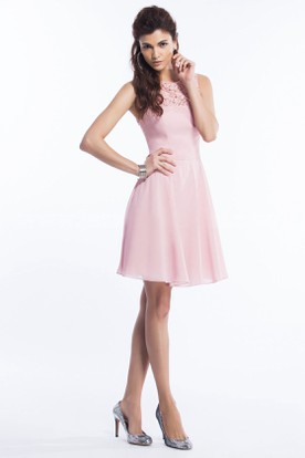 Sleeveless A-Line Short Bridesmaid Dress With Keyhole Back
