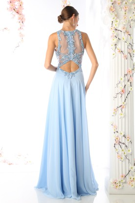 A-Line Long Jewel-Neck Sleeveless Chiffon Illusion Dress With Appliques And Beading