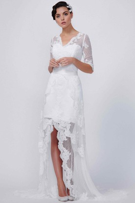 V-Neck Long Half Sleeve Lace Wedding Dress With Court Train And Illusion