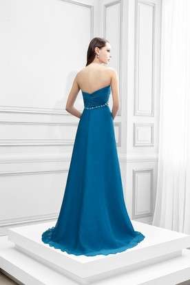 Sweetheart Beaded Sleeveless Empire Chiffon Prom Dress