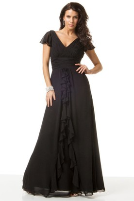 Cascading-Ruffled Cap Sleeve V-Neck Chiffon Bridesmaid Dress