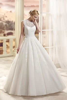 A-Line Appliqued Sleeveless Floor-Length Scoop-Neck Tulle Wedding Dress