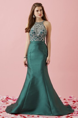Mermaid Maxi Scoop-Neck Sleeveless Satin Brush Train Dress With Beading