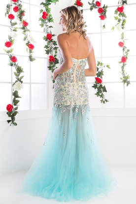 Mermaid Maxi Sweetheart Sleeveless Tulle Backless Dress With Beading And Split Front