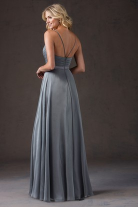 Sleeveless V-Neck Bridesmaid Dress With Spaghetti Straps And Pleats