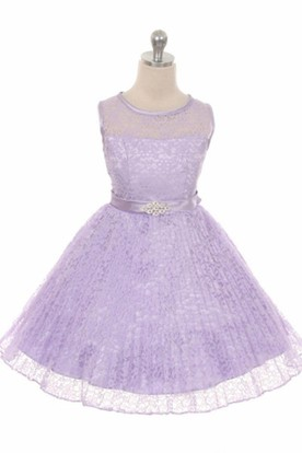 Illusion Tea-Length Pleated Lace&Satin Flower Girl Dress