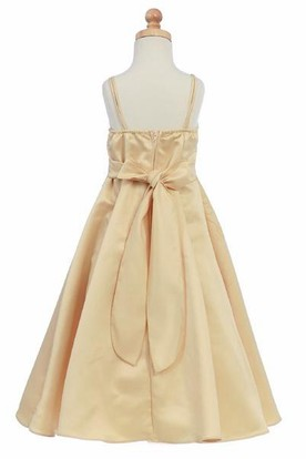 Floral Ankle-Length Beaded Floral Sequins&Satin Flower Girl Dress With Straps