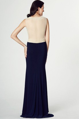 Sheath Long Scoop Beaded Sleeveless Chiffon Prom Dress With Illusion Back And Brush Train
