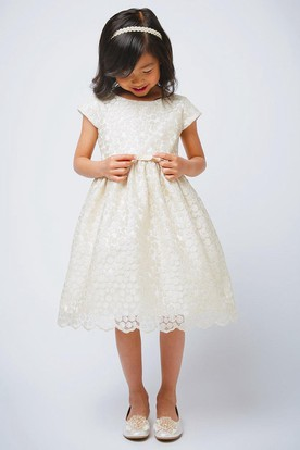 Tea-Length Scalloped Cap-Sleeve Bowed Satin Flower Girl Dress