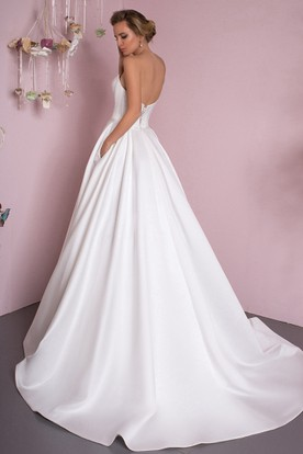 Ball Gown Floor-Length Sweetheart Satin Wedding Dress With Corset Back