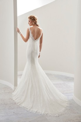 V-neck Cap sleeve Sheath Wedding Gown with Open Back and Illusive Lace Straps
