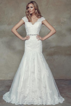 Mermaid Cap-Sleeve Jeweled V-Neck Lace Wedding Dress