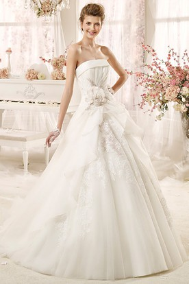 Strapless A-line Wedding Dress with Flowers and Pleated Bodice