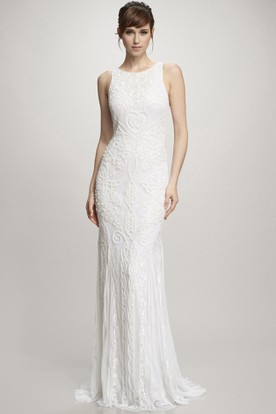 Floor-Length Scoop Lace Wedding Dress With Brush Train And V Back