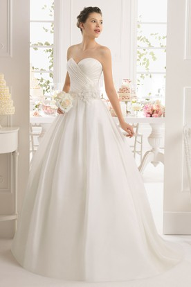 Ball Gown Sweetheart Long Satin Wedding Dress With Criss Cross And Illusion