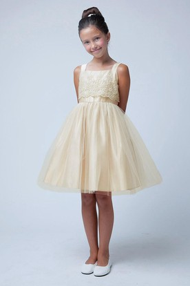 Spaghetti Embroideried Tiered Tulle&Organza Flower Girl Dress