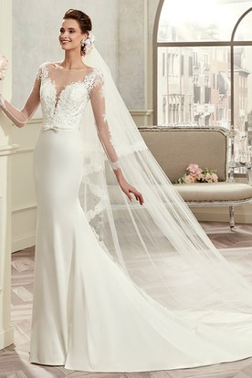 Long-Sleeve Brush-Train Sheath Bridal Gown With Lace Bodice And Satin Skirt