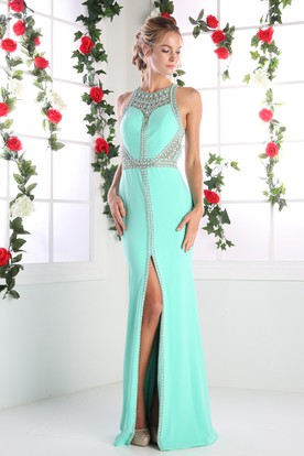 Sheath Long Jewel-Neck Sleeveless Jersey Straps Dress With Split Front And Beading