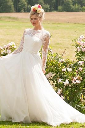 Long High Neck Long-Sleeve Appliqued Chiffon Wedding Dress