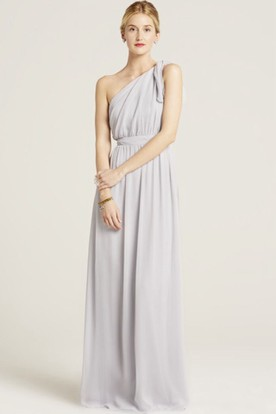 Sleeveless Ruched One-Shoulder Chiffon Bridesmaid Dress