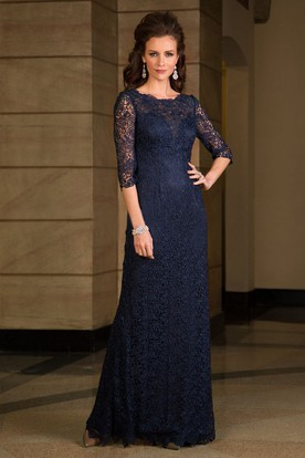 3-4 Sleeved Long Lace Mother Of The Bride Dress With Illusion Style