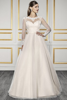 Long Bateau Appliqued Long-Sleeve Tulle Wedding Dress With Court Train And Illusion