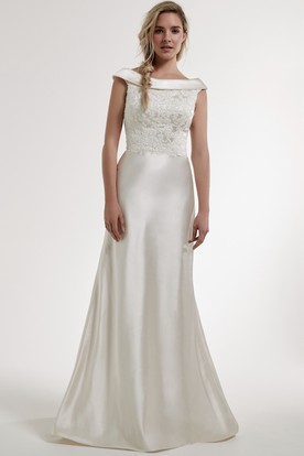 Sheath Floor-Length Appliqued Bateau Satin Wedding Dress With Low-V Back And Court Train
