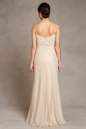 Floor-Length Spaghetti Chiffon Bridesmaid Dress With V Back