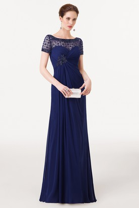 Sheath Beaded Bateau Neck Short Sleeve Chiffon Prom Dress