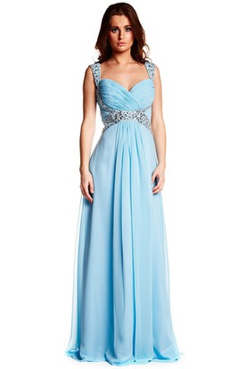 Sleeveless Strapped Criss-Cross Chiffon Prom Dress With Beading