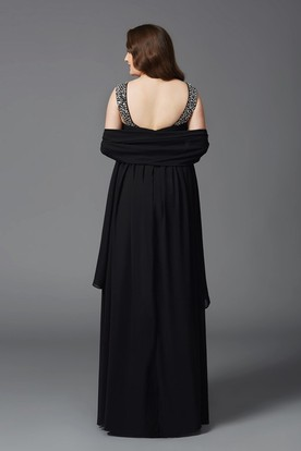 A-line Floor-length Scoop Chiffon Beading Cape Low-V Back Dress