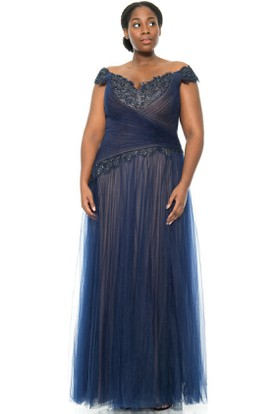 Cap Sleeve Criss-Cross V-Neck Tulle Evening Dress With Appliques