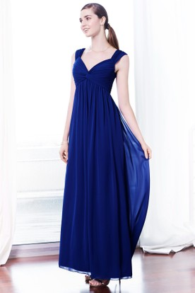 Ankle-Length Sleeveless Empire V-Neck Ruched Chiffon Bridesmaid Dress