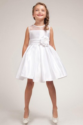 Midi Pleated Split-Front Organza&Satin Flower Girl Dress
