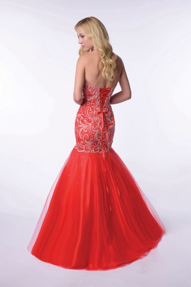 Lace-Up Back Mermaid Sweetheart Homecoming Dress With Bodice Beadwork