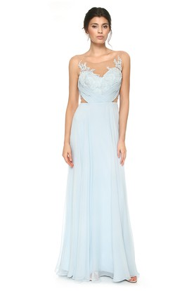 Scoop-Neck Sleeveless Floor-Length Pleated Chiffon Bridesmaid Dress With Appliques And V Back