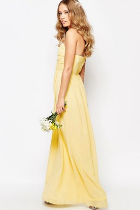 Sheath Sweetheart Ankle-Length Chiffon Bridesmaid Dress With Criss Cross And Zipper