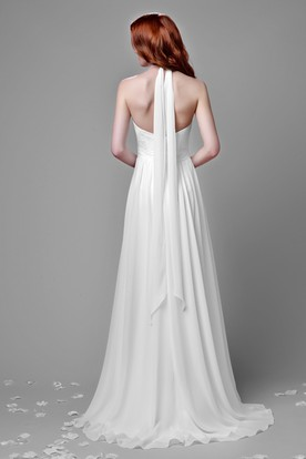 Pleated A-Line Chiffon Wedding Dress With Lace Bust And Cinched Waistband