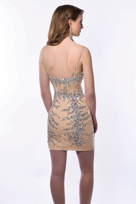 Sheath Short Jeweled Lace V-Neck Spaghetti Straps Homecoming Dress