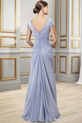 Draped Cap Sleeve V-Neck Chiffon Formal Dress With Appliques
