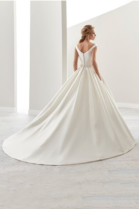 Simple V-Neck A-Line Satin Wedding Dress With Beaded Belt And Brush Train
