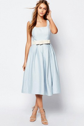 A-Line Sleeveless Square-Neck Tea-Length Satin Bridesmaid Dress With Bow