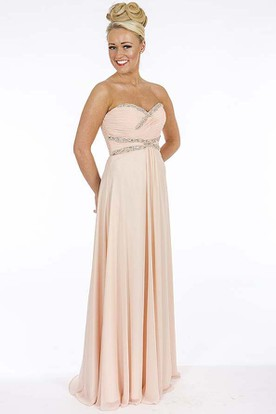 A-Line Empire Sleeveless Floor-Length Sweetheart Beaded Chiffon Prom Dress With Lace-Up Back And Criss Cross