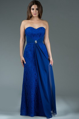 Sweetheart Sheath Lace Long Bridesmaid Dress With Crystal Waist Knot