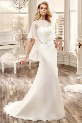 Strapless Sheath Lace Wedding Dress With Appliqued Sash And Brush Train