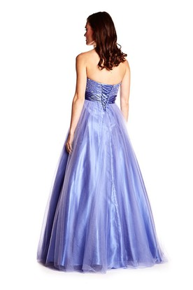 A-Line Sequined Sleeveless Sweetheart Long Tulle&Satin Prom Dress With Bow